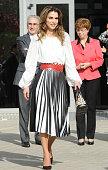 Queen Rania attends Molecular Biology Center 'Severo Ochoa' at Autonoma University on November 20 2015 in Madrid Spain