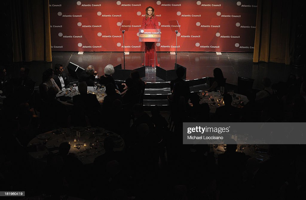 <a gi-track='captionPersonalityLinkClicked' href=/galleries/search?phrase=Queen+Rania+of+Jordan&family=editorial&specificpeople=160330 ng-click='$event.stopPropagation()'>Queen Rania of Jordan</a> addresses the audience during the 2013 Global Citizen Awards Ceremony on September 26, 2013 in New York City.