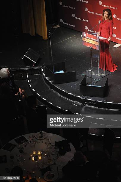 Queen Rania of Jordan addresses the audience during the 2013 Global Citizen Awards Ceremony on September 26 2013 in New York City