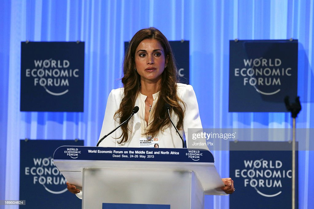 <a gi-track='captionPersonalityLinkClicked' href=/galleries/search?phrase=Queen+Rania+of+Jordan&family=editorial&specificpeople=160330 ng-click='$event.stopPropagation()'>Queen Rania of Jordan</a> addresses the World Economic Forum on the Middle East and North Africa 2013 on May 26, 2013, in Dead Sea, Jordan. The forum runs May 24-26 and is being participated by 23 countries, under the theme of 'Advancing Conditions for Growth and Resilience.'