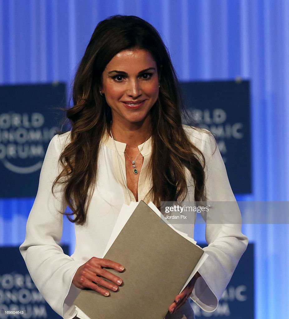 Queen Rania of Jordan addresses the World Economic Forum on the Middle East and North Africa 2013 on May 26, 2013, in Dead Sea, Jordan. The forum runs May 24-26 and is being participated by 23 countries, under the theme of 'Advancing Conditions for Growth and Resilience.'