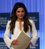 Queen Rania of Jordan addresses the World Economic Forum on the Middle East and North Africa 2013 on May 26 in Dead Sea Jordan The forum runs May...