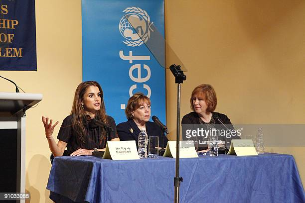 Queen Rania of Jordan and Ann Veneman and Ann Tisch visit The Young Women's Leadership School East Harlem on September 21 2009 in New York City