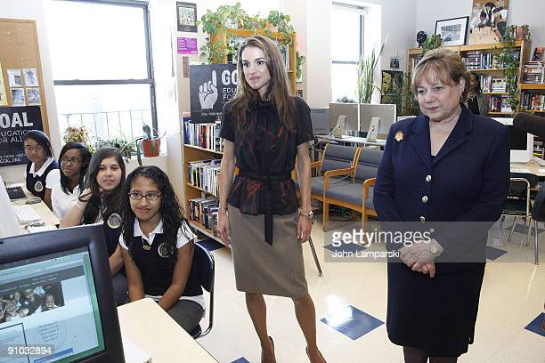 Queen Rania of Jordan and Ann Veneman visit The Young Women's Leadership School East Harlem on September 21 2009 in New York City