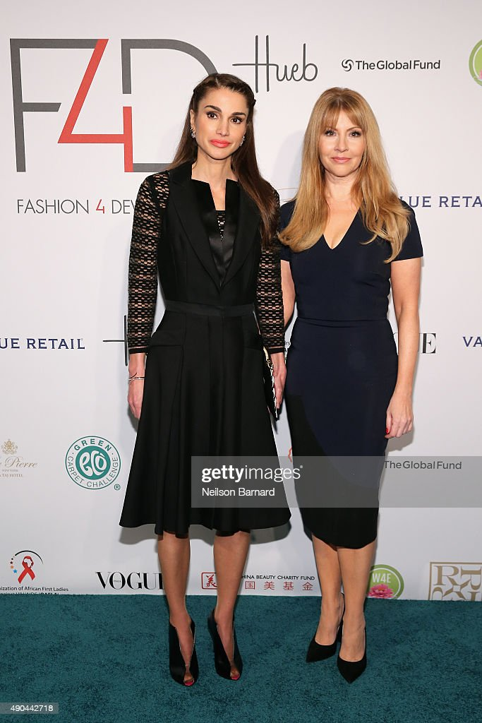 Queen Rania of Jordan and F4D Founder Evie Evangelou attend the Fashion 4 Development's 5th annual Official First Ladies luncheon at The Pierre Hotel...