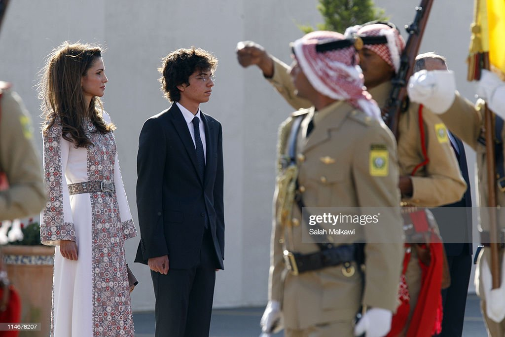 Queen Rania of Jordan and her son Crown Prince Hussein arrive at an official celebration for the 65th anniversary of Independence on May 25, 2011 in Amman, Jordan. The Hashemite Kingdom of Jordan gained independence from Britain on May 25, 1946.
