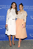 Queen Rania of Jordan and Jennifer Lopez attend the UN Foundation's Gender Equality Discussion at The Four Seasons Restaurant on September 25 2015 in...
