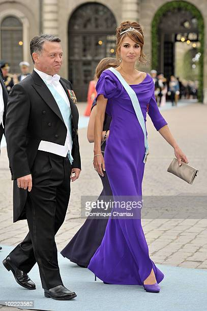 Queen Rania of Jordan and King Abdullah of of Jordan attend the wedding of Crown Princess Victoria of Sweden and Daniel Westling on June 19 2010 in...