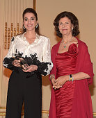 Queen Rania of Jordan and Queen Silvia of Sweden attend the World Childhood Foundation USA ThankYou Gala 2015 on September 24 2015 in New York City