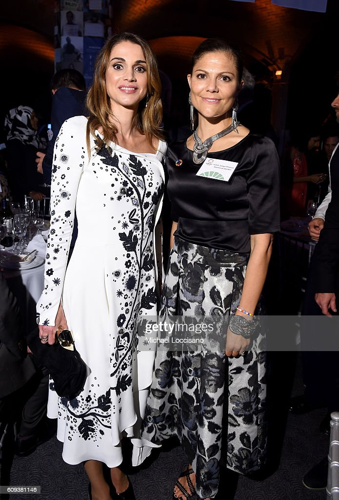 Queen Rania of Jordan (L) and Victoria, Crown Princess of Sweden attend 2016 Global Goals Awards Dinner at Gustavino's on September 20, 2016 in New York City.