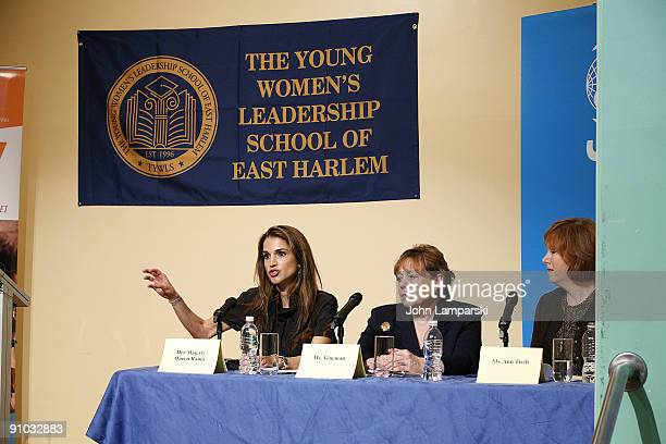 Queen Rania of Jordan Ann Veneman and Ann Tisch visits The Young Women's Leadership School East Harlem on September 21 2009 in New York City