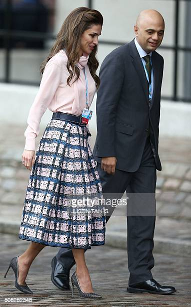 Queen Rania of Jordan arrives at the QEII centre in central London on February 4 to attend a donor conference entitled 'Supporting Syria The Region'...