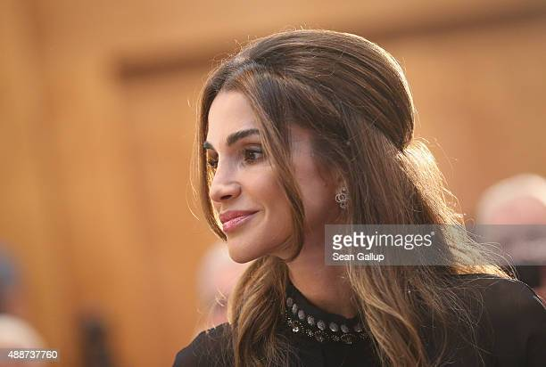 Queen Rania of Jordan arrives at the Walther Rathenau Award ceremony on September 17 2015 in Berlin Germany The award is in recognition of foreign...