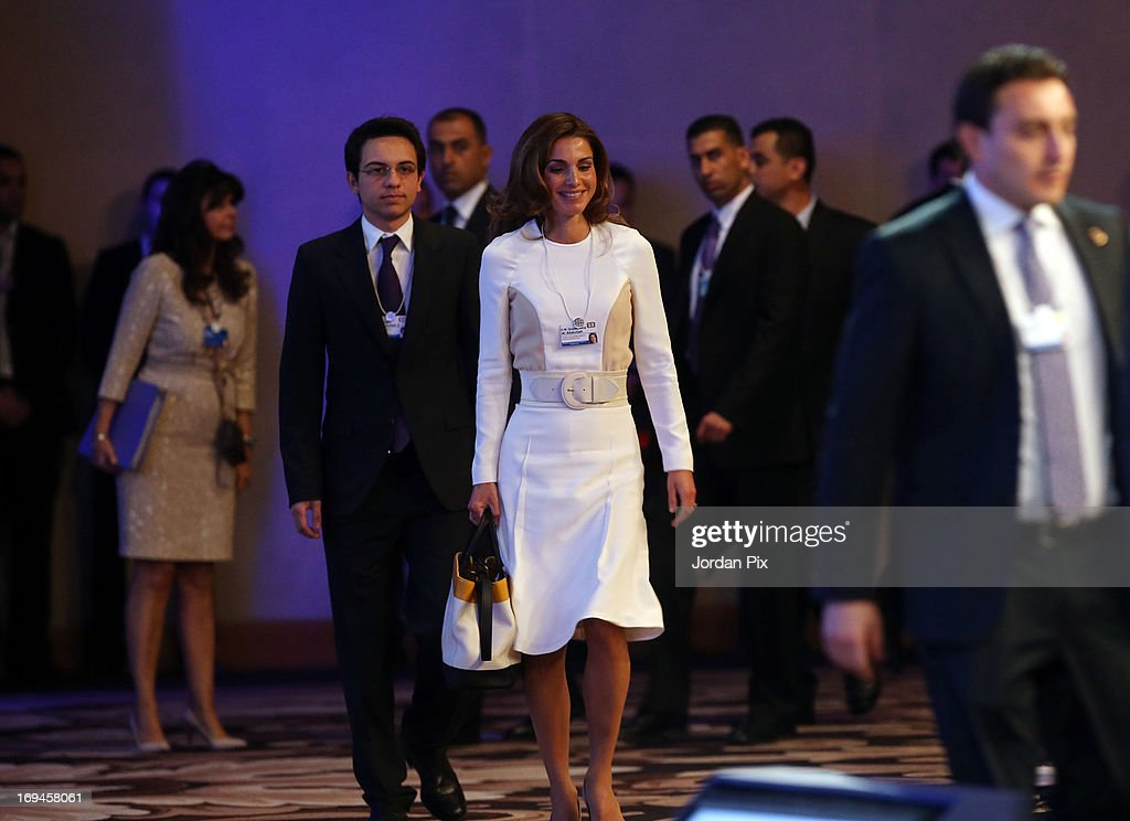Queen Rania of Jordan arrives the World Economic Forum on the Middle East and North Africa 2013 on May 25, 2013, in Dead Sea, Jordan. The forum runs May 24-26 and is being participated by 23 countries, under the theme of 'Advancing Conditions for Growth and Resilience.'