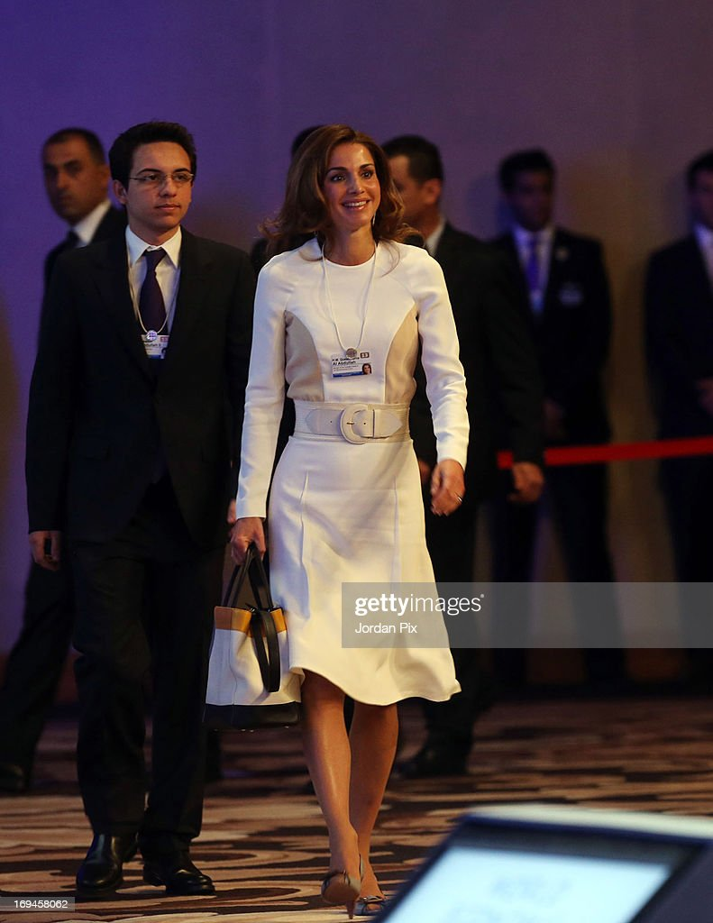 <a gi-track='captionPersonalityLinkClicked' href=/galleries/search?phrase=Queen+Rania+of+Jordan&family=editorial&specificpeople=160330 ng-click='$event.stopPropagation()'>Queen Rania of Jordan</a> arrives the World Economic Forum on the Middle East and North Africa 2013 on May 25, 2013, in Dead Sea, Jordan. The forum runs May 24-26 and is being participated by 23 countries, under the theme of 'Advancing Conditions for Growth and Resilience.'