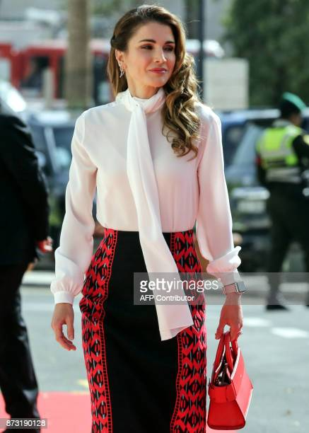 Queen Rania of Jordan arrives to attend the opening of the ordinary session of parliament in the capital Amman on November 12 2017 / AFP PHOTO /...