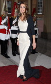 Queen Rania of Jordan attends a dinner for foreign Sovereigns to commemorate the Diamond Jubilee at Buckingham Palace on May 18 2012 in London...