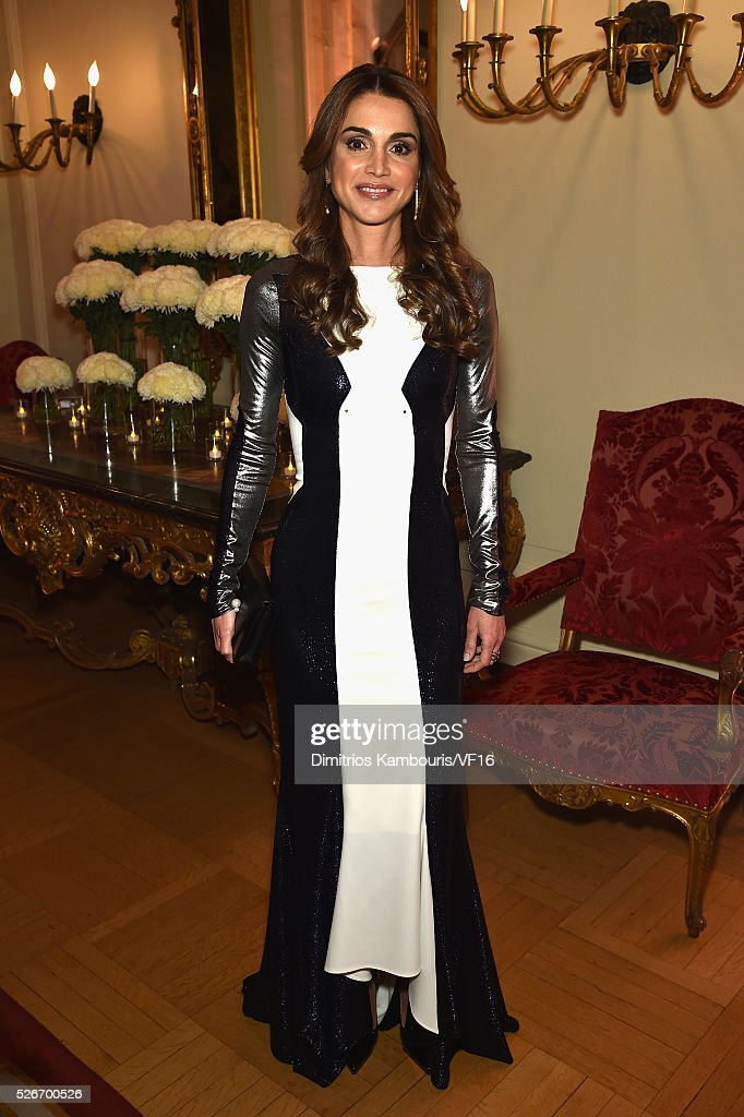 Queen Rania of Jordan attends the Bloomberg Vanity Fair cocktail reception following the 2015 WHCA Dinner at the residence of the French Ambassador...