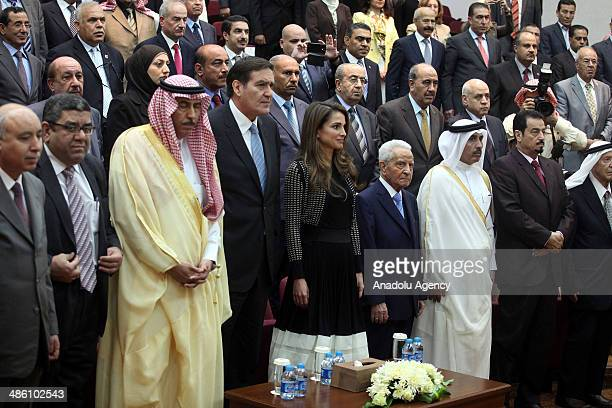 Queen Rania of Jordan attends the conference where Saudi Prince AlWaleed bin Talal received the title of honorary PhD at University of Jordan in...