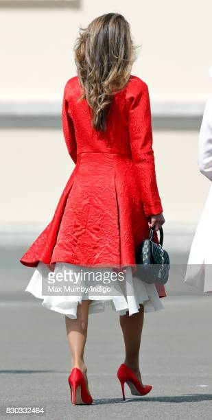 Queen Rania of Jordan attends the Sovereign's Parade at the Royal Military Academy Sandhurst on August 11 2017 in Camberley England The Sovereign's...