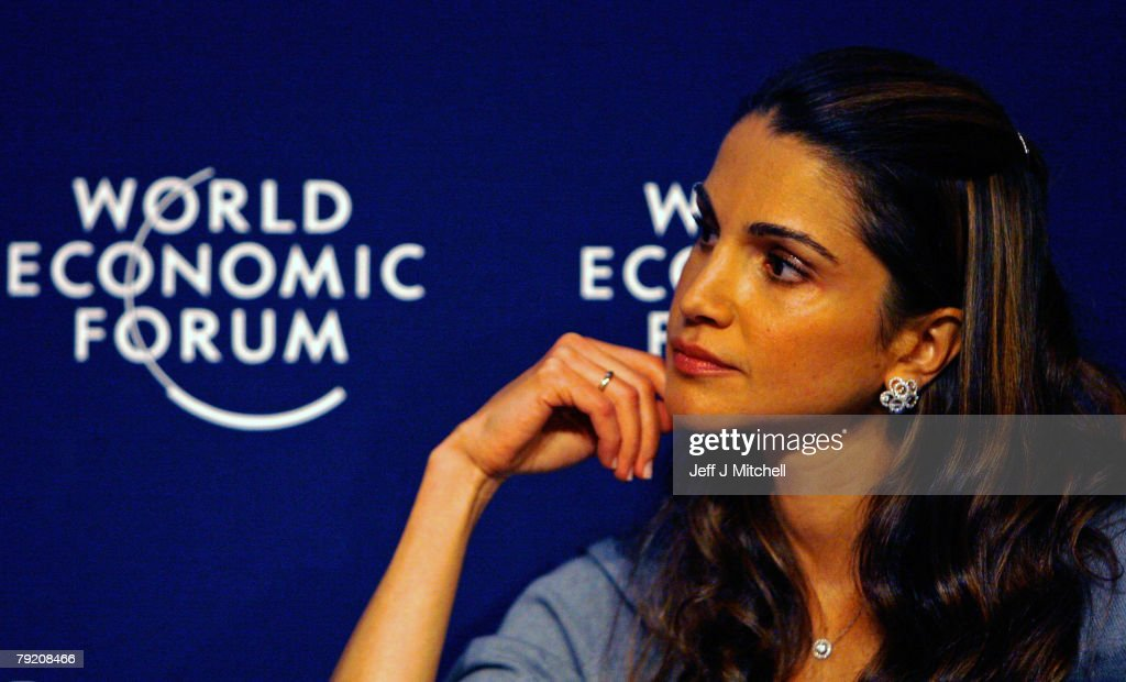 Queen Rania of Jordan attends the third day of the World Economic Forum on January 25, 2008 in Davos,Switzerland. Some of the World's top business people, heads of state and representatives of NGOs will meet at the forum until Sunday.