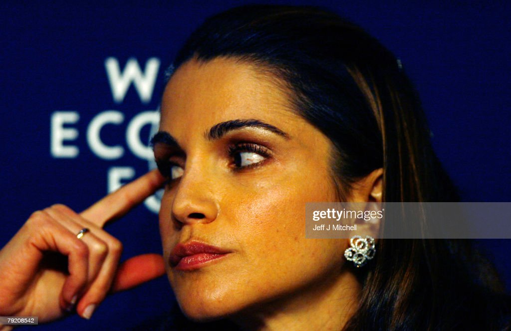 Queen Rania of Jordan attends the third day of the World Economic Forum on January 25, 2008 in Davos, Switzerland. Some of the world's top business people, heads of state and representatives of NGOs will meet at the forum until Sunday.