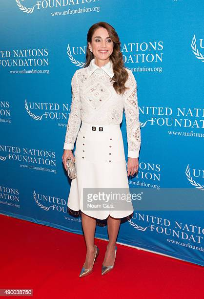 Queen Rania of Jordan attends UN Foundation's gender equality discussion at The Four Seasons Restaurant on September 25 2015 in New York City