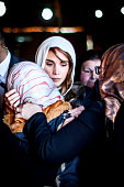 Queen Rania of Jordan consoles Anwar Al Tarawneh the wife of the Jordanian pilot Muath Al Kasasbeh who was burned to death after being held hostage...