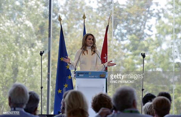 Queen Rania of Jordan delivers a speech during the Grand Opening of French employers' organisation Medef at the Medef Summer Conference on August 26...