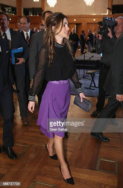 Queen Rania of Jordan departs after attending the Walther Rathenau Award ceremony on September 17 2015 in Berlin Germany The award is in recognition...