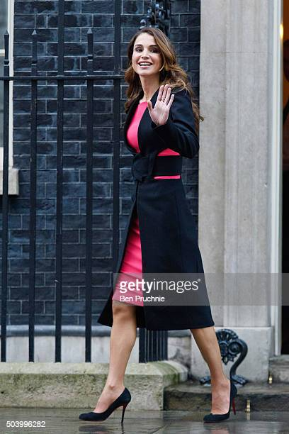 Queen Rania of Jordan departs Number 10 Downing Street on January 8 2016 in London England The Prime Minister held talks with Queen Rania of Jordan...