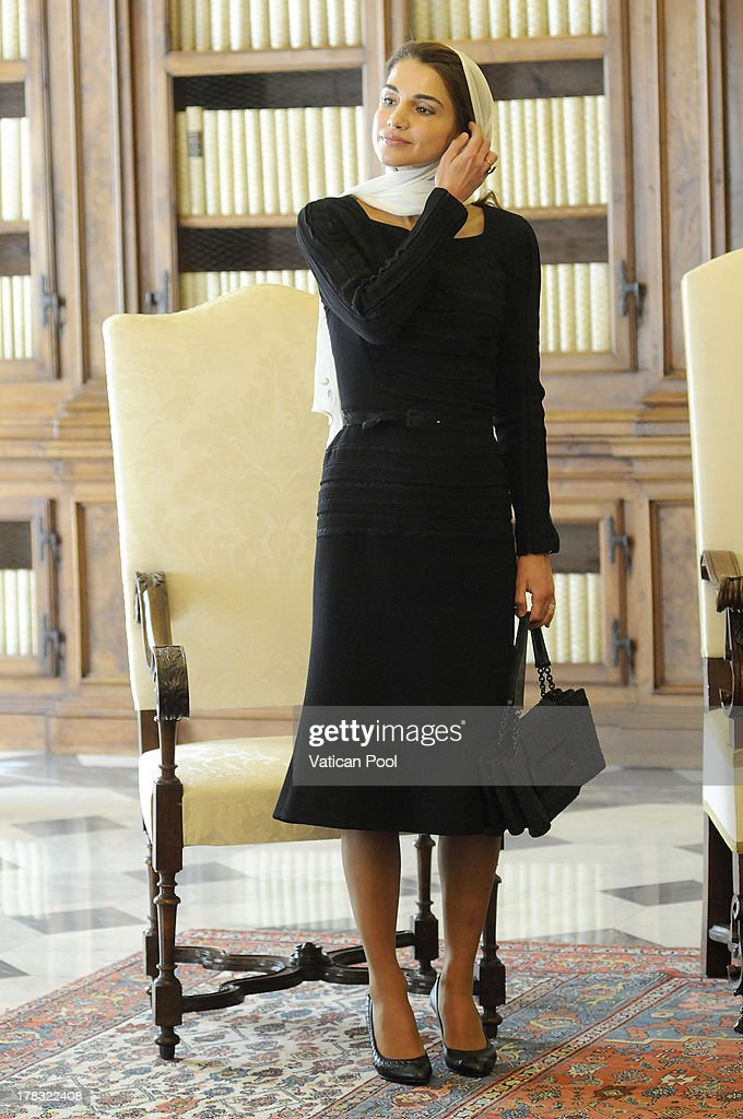 <a gi-track='captionPersonalityLinkClicked' href=/galleries/search?phrase=Queen+Rania+of+Jordan&family=editorial&specificpeople=160330 ng-click='$event.stopPropagation()'>Queen Rania of Jordan</a> during a meeting with Pope Francis at the Pope's private library on August 29, 2013 in Vatican City, Vatican. The Pope was expected to talk about Jordan's sheltering of those fleeing the civil war in neighboring Syria.