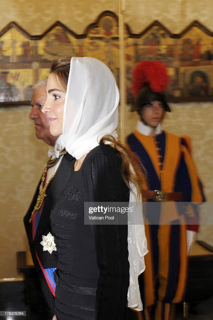 Queen Rania of Jordan during a meeting with Pope Francis at the Pope's private library on August 29, 2013 in Vatican City, Vatican. The Pope was expected to talk about Jordan's sheltering of those fleeing the civil war in neighboring Syria.
