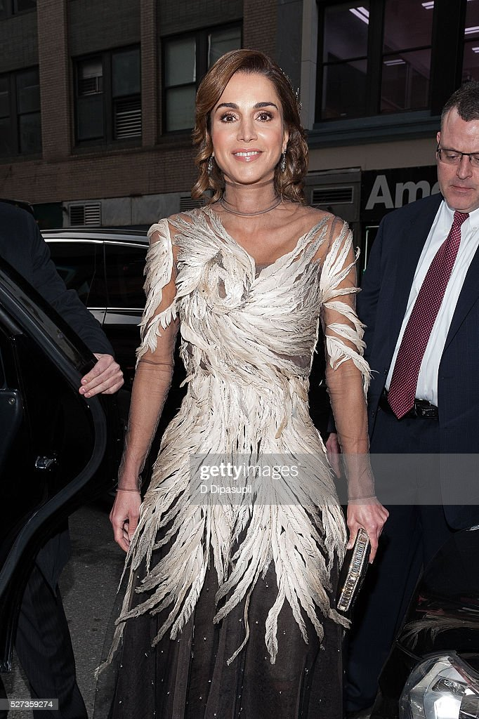Queen Rania of Jordan is seen departing the Mandarin Oriental hotel on May 2, 2016 in New York City.