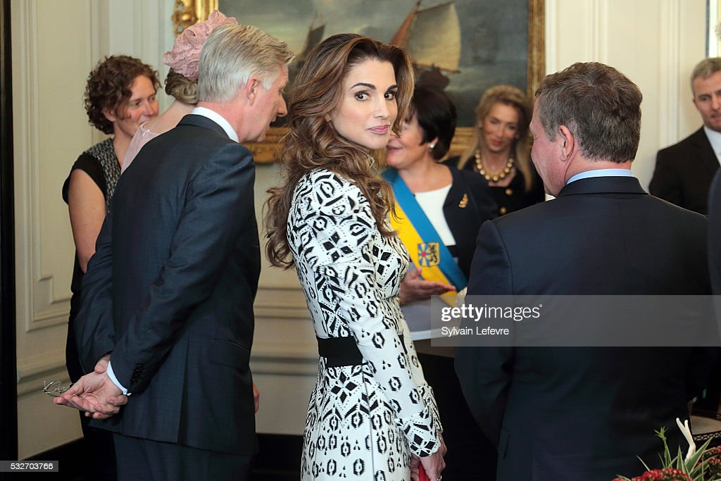 Queen Rania of Jordan is welcomed at the Town Hall during a royal guided tour through the city of Brugge during a State Visit of the Jordan King and...