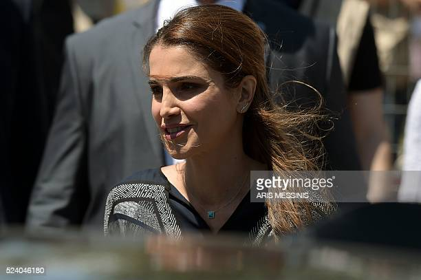 Queen Rania of Jordan leaves the refugee site of Kara Tepe in Mytilene on April 25 2016 Jordan's Queen Rania today called for 'legal' paths into...