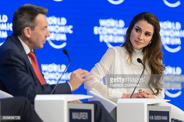 Queen Rania of Jordan listens to the International Committee of the Red Cross president Peter Maurer during a session at the World Economic Forum...