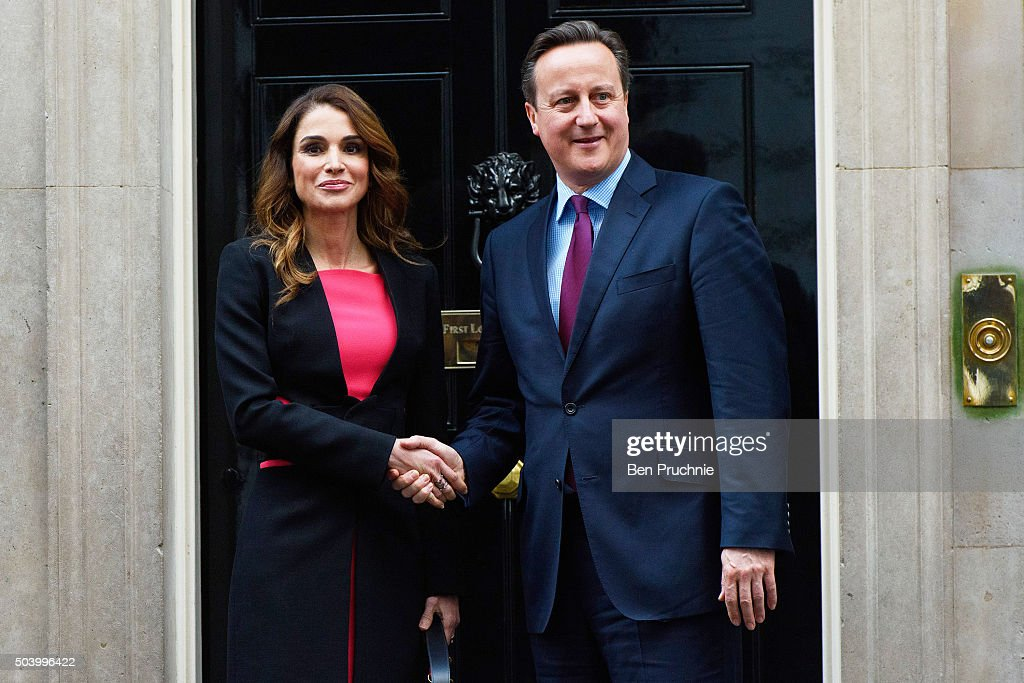 Queen Rania of Jordan meets British Prime Minister David Cameron on the doorstep of Number 10 Downing Street on January 8 2016 in London England The...