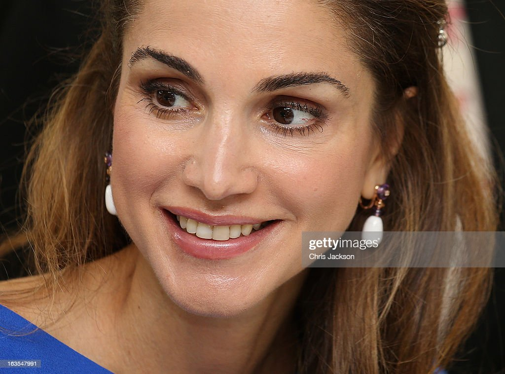 Queen Rania of Jordan meets pupils during a visit to Mahis School on the second day of Charles and Camilla's visit to the country on March 12, 2013 in Amman, Jordan. The Royal couple are on the first leg of a tour of the Middle East taking in Qatar, Saudia Arabia and Oman.