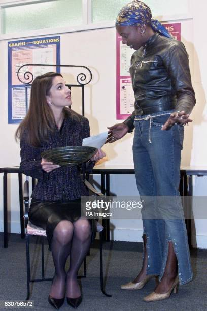 Queen Rania of Jordan seated on a chair manufactured by local furniture designer Sabrina Olujimi Sabrina a beneficiary of The Prince's Trust in this...