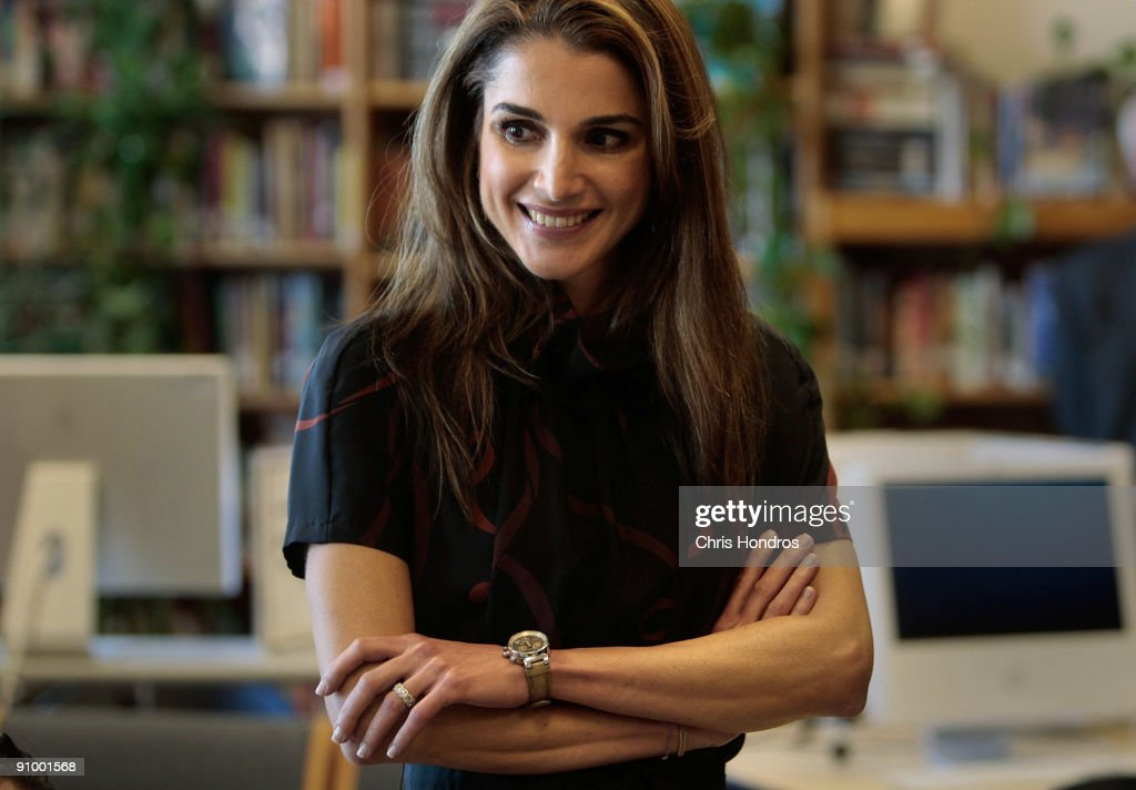 Queen Rania of Jordan smiles in a classroom at the Young Women's Leadership School in East Harlem neighborhood of Manhattan September 21, 2009 in New York City. The queen met with students and staff at the school in as part of her activism in girls education.