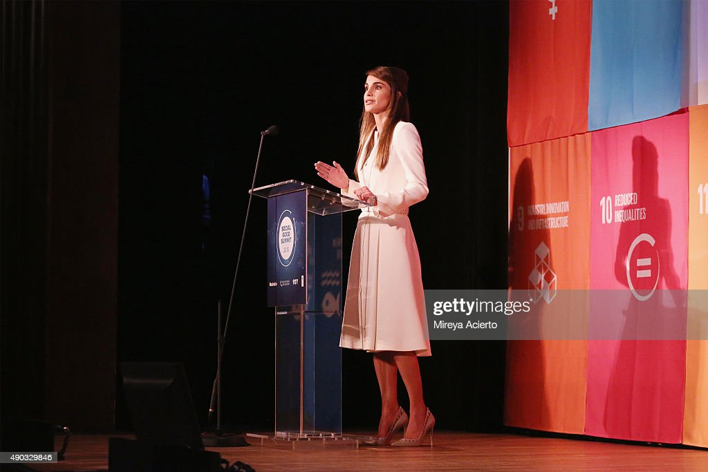 Queen Rania of Jordan speaks during the 2015 Social Good Summit at 92Y on September 27 2015 in New York City