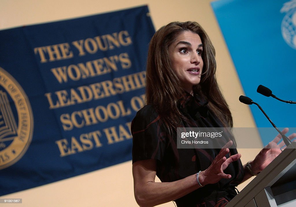 <a gi-track='captionPersonalityLinkClicked' href=/galleries/search?phrase=Queen+Rania+of+Jordan&family=editorial&specificpeople=160330 ng-click='$event.stopPropagation()'>Queen Rania of Jordan</a> speaks to students at the Young Women's Leadership School in East Harlem neighborhood of Manhattan September 21, 2009 in New York City. The queen met with students and staff at the school in as part of her activism in girls education.