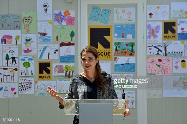 Queen Rania of Jordan speaks to the press as she visits the refugee camp of Kara Tepe in Mytilene on April 25 2016 MESSINIS