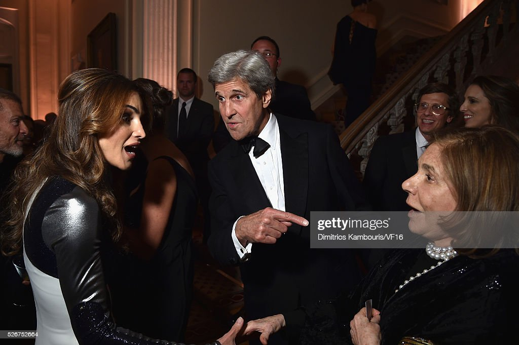 Queen Rania of Jordan, The Secretary of State, John Kerry and Teresa Heinzattends the Bloomberg & Vanity Fair cocktail reception following the 2015 WHCA Dinner at the residence of the French Ambassador on April 30, 2016 in Washington, DC.