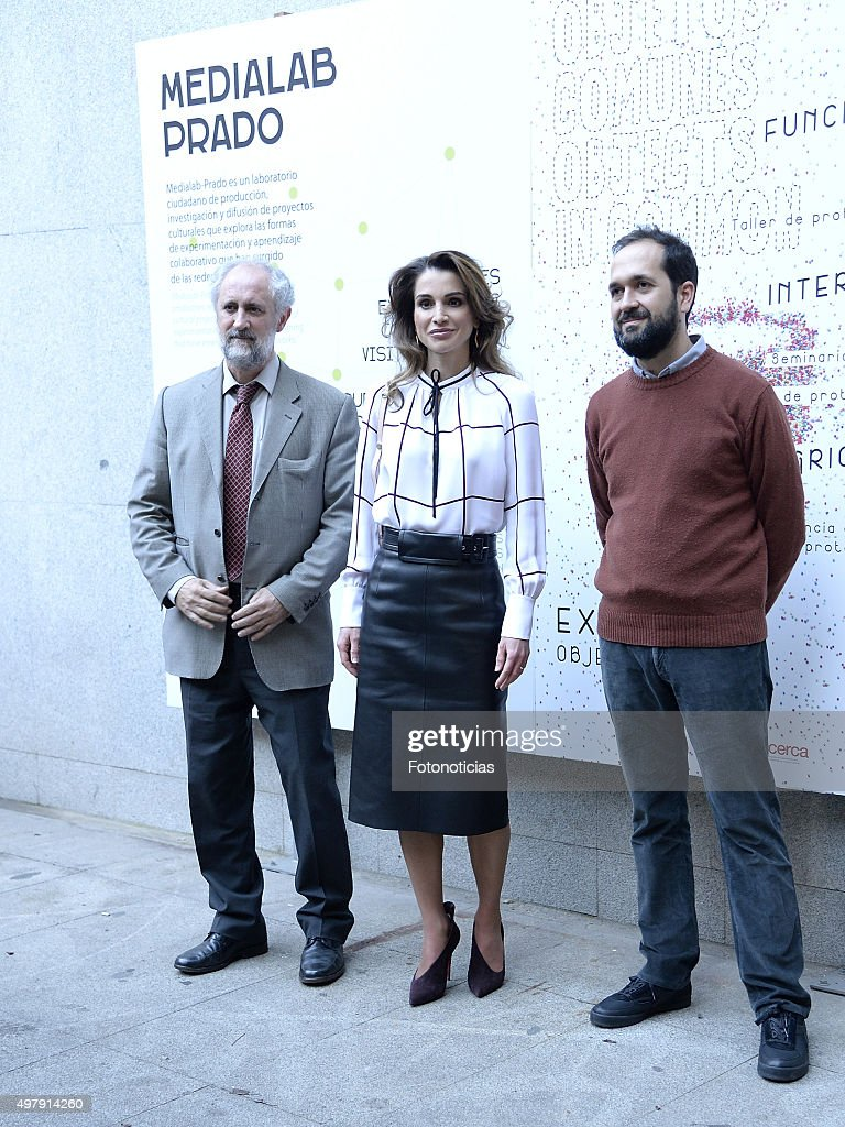 Queen Rania of Jordan visits the Prado Media Lab Center on November 19 2015 in Madrid Spain