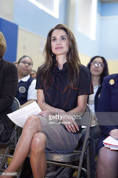 Queen Rania of Jordan visits The Young Women's Leadership School East Harlem on September 21 2009 in New York City