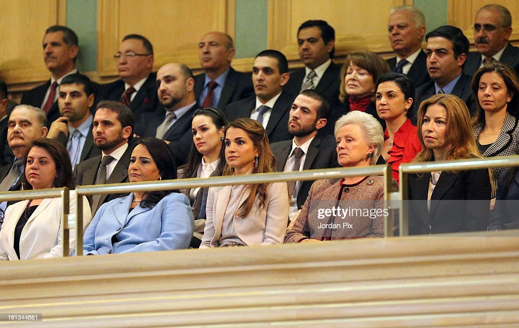 Queen Rania (C), Princess Mona (2nd from R), Princess Ghida (R) attend as Jordan's King Abdullah inaugurates the newly elected parliament on February 10, 2013 in Amman, Jordan. The King addressed the parliament with a pledge to move forward with democratization, adding that he will help choose the next prime minister.