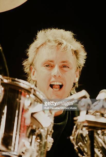 Queen Roger Taylor playing at Nippon Budokan Tokyo May 8 1985