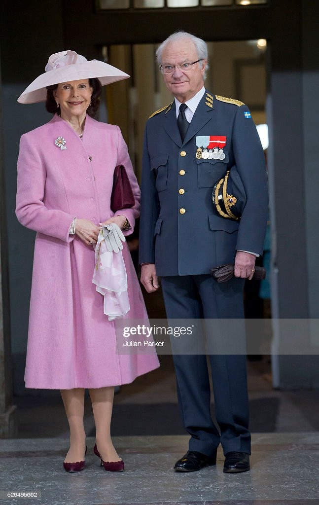 Queen Silvia, and King Carl Gustaf of Sweden arrive for the Te Deum Thanksgiving Service, at The Royal Palace, Stockholm, on the occasion of King Carl Gustaf of Sweden's 70th Birthday,on April 30, 2016, in Stockholm, Sweden.